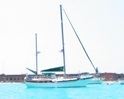 At anchor in the Dry Tortugas. The water color was awesome!