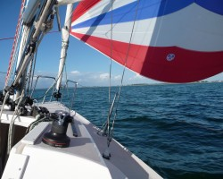 Flying the kite in the Gulf of Mexico. Colgate 24, Offshore Sailing School, Captiva.
