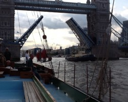 Tower Bridge opening for us.
