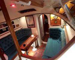The interior of my Bowman Yawl. Google tutored me on the upholstery. Next, it's curtains.