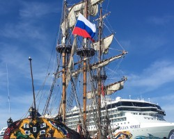 Russian ship Shtandard at Southampton Boat Show 2018, the very first vessel of Russian Fleet, built by Peter The Great. Replica by Captain Vladimir.