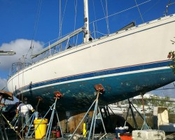 Beneteau Idylle BEFORE,  she had been sitting on the hard for over 13 years!