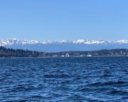 Picture perfect Olympic Mountains from mid Puget Sound Apr 15 with 11 knots of breeze