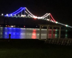 Newport RI Pell bridge 2019 with Red, White, and Blue lights