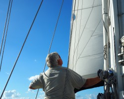 Checking rigging and sail trim under way.
