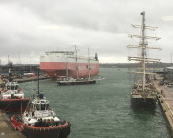 Tenacious has berthed, Lord Nelson is maneuvering in Southampton docks.The vessels belong to charity teaching disabled (or differently abled!) people to traditional ways of sailing.