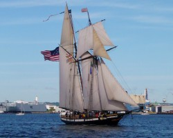 Privateer LYNX in Baltimore Harbor. Several years later I had the pleasure of taking her wheel for a while off New Castle, DE.