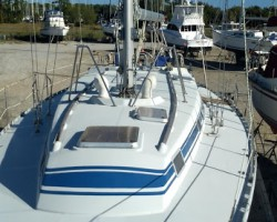 At Safe Cove Inc boatyard, safe and sound for hurricane season.  Waiting for the next splash into Charlotte Harbor FL.