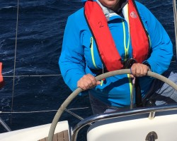 August 2020, RYA Day Skipper Course. Motoring into an Easterly off Europa Point. Very happy days. Was over the moon to hear I'd got my Day Skipper ticket.