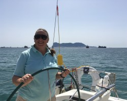Back out on the water, creaming along at 8 knots in the Strait at the top end of a Force 6, grinding the winch to tack through the wind with the salt spray in my face felt good!