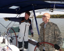 """Quantico Yacht Club member and Beneteau 49 skipper teaches soldier Will to sail. The young vet was in his second battle with leukemia and learning to sail was his final wish. I was honored to be his """"sailing angel"""" to arrange his dream come true."""