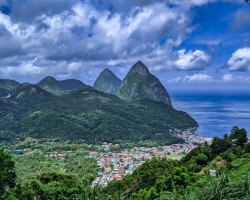 View of Pitons from above Soufriere